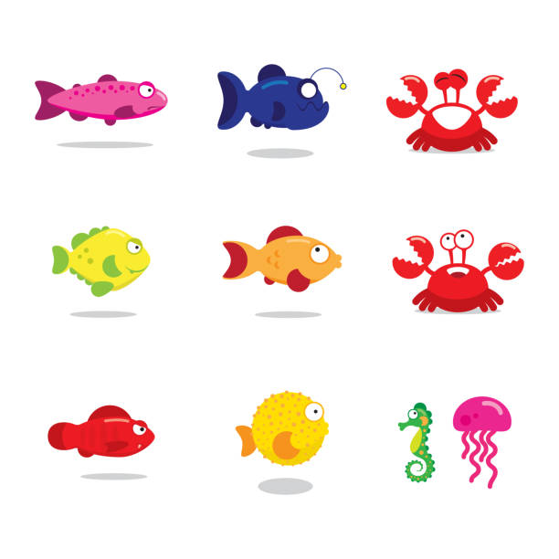 colorful characters of the underwater world, set - redfish stock illustrations, clip art, cartoons, & icons