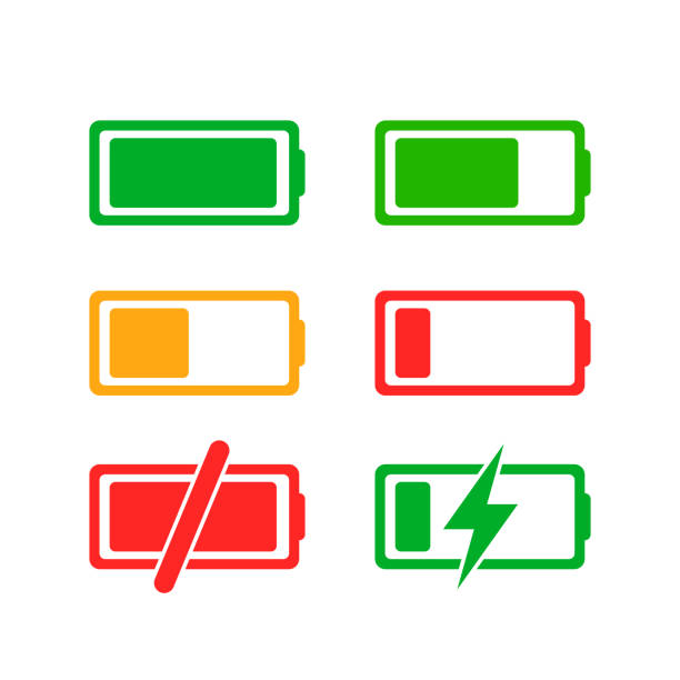 Colorful charge phases Colorful charge phases. Set of GUI icons rechargeable battery stock illustrations