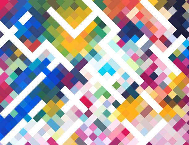 ilustraciones, imágenes clip art, dibujos animados e iconos de stock de fondo de mosaico colorido check - fondos mosaicos