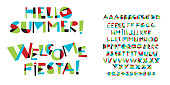 Colorful childish font letter set
