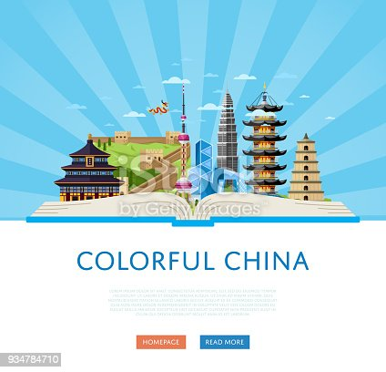 Colorful China poster, vector illustration. Open big book with famous traditional and modern asian buildings on striped blue background. Time to travel concept. China landmarks website template.