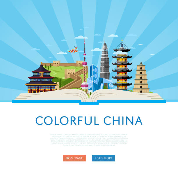 colorful china poster with famous buildings - asia travel stock illustrations, clip art, cartoons, & icons