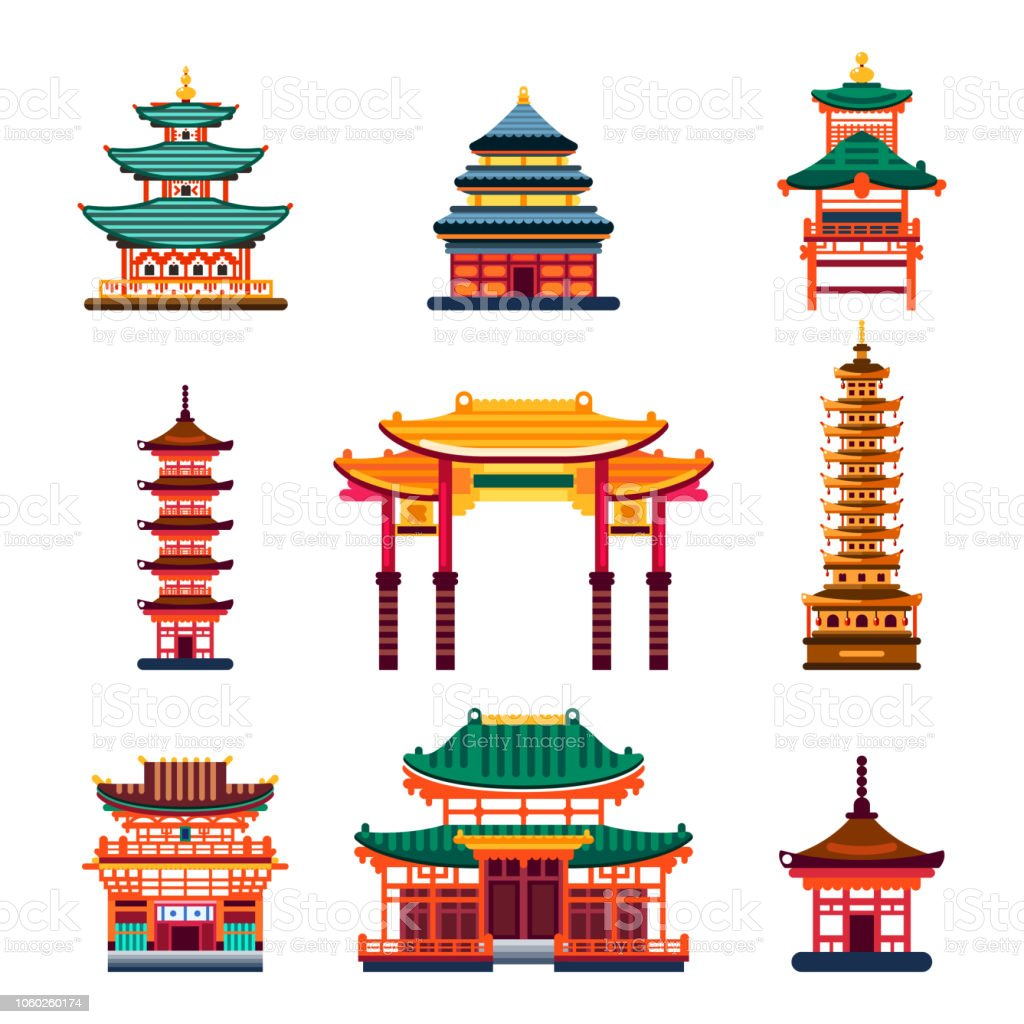 Temple Texas Traditional Home: Colorful Chinese Buildings Vector Flat Isolated