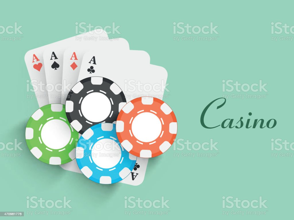 Colorful chips with ace cards for Casino. vector art illustration