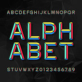 Colorful Chisel Alphabet Vector Font. Type letters and numbers.