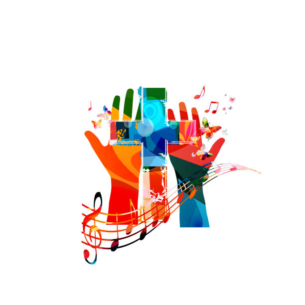 Colorful christian cross with hands and music notes isolated vector illustration. Religion themed background. Design for gospel church music, choir singing, concert, festival, Christianity, prayer Colorful christian cross with hands and music notes isolated vector illustration. Religion themed background. Design for gospel church music, choir singing, concert, festival, Christianity, prayer gospel choir stock illustrations