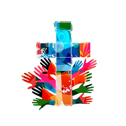 Colorful christian cross with human hands isolated vector illustration. Religion themed background. Design for Christianity, church charity, help and support, prayer and care