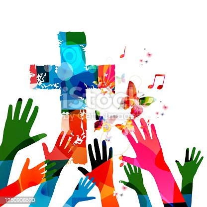 istock Colorful christian cross with music notes and hands 1250906520