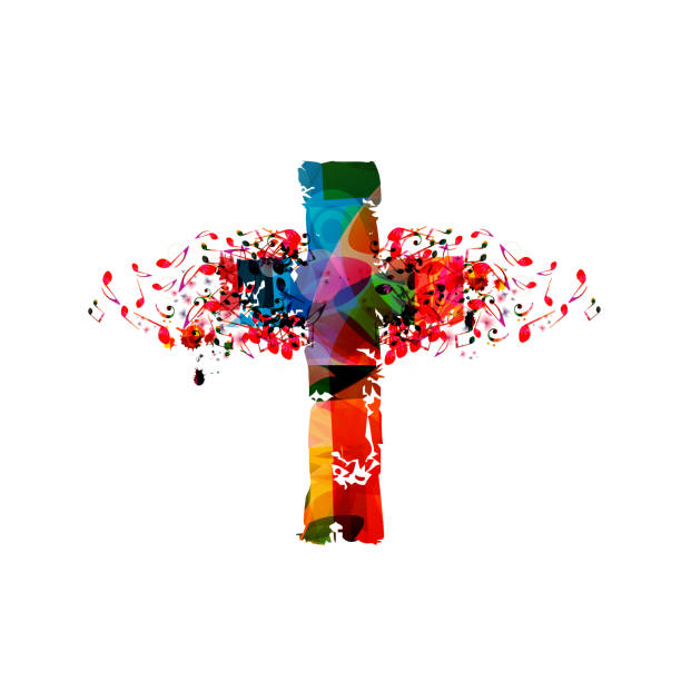 Colorful christian cross with music notes Colorful christian cross with music notes isolated vector illustration. Religion themed background. Design for gospel church music, concert, festival, choir singing, Christianity, prayer gospel choir stock illustrations