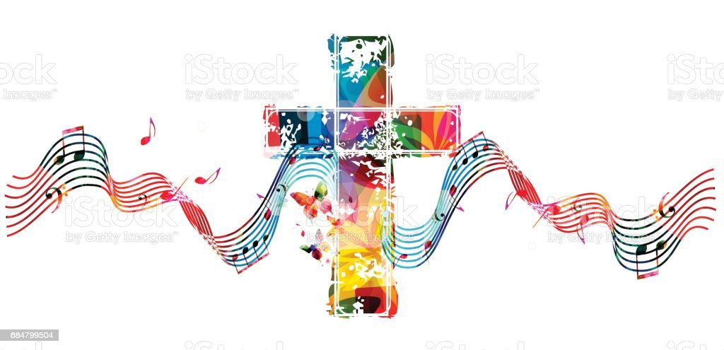 Colorful christian cross with stave and music notes royalty-free colorful christian cross with stave and music notes stock illustration - download image now