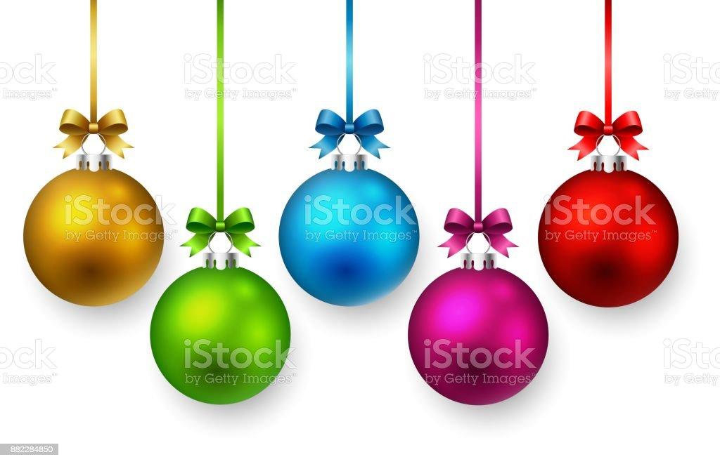 Bola de Navidad de colores y cintas. - ilustración de arte vectorial