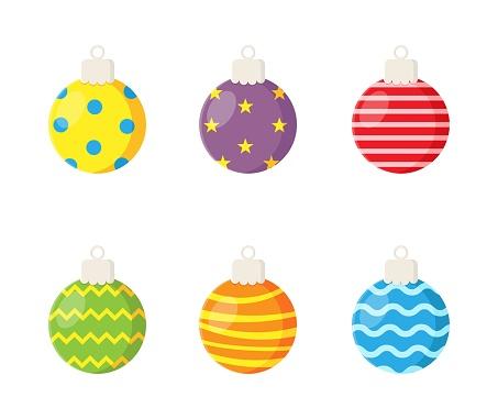 colorful christmas balls set isolated on white background. vector Illustration.