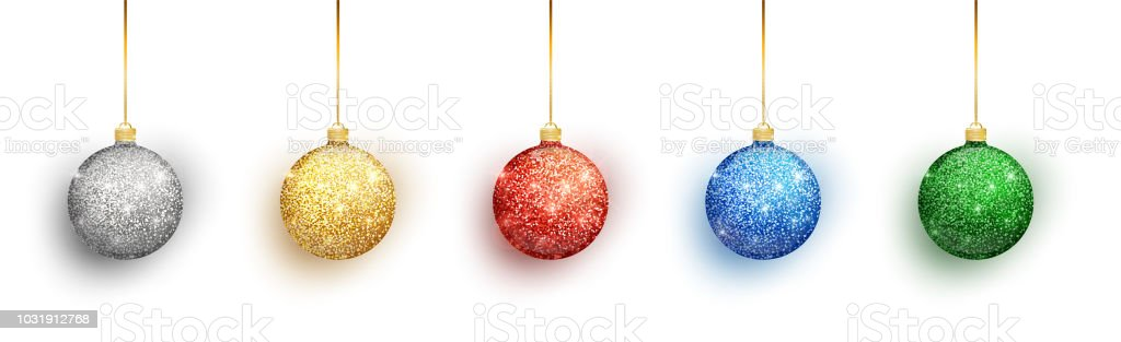 colorful christmas balls set on white background christmas decorations vector object for christmas design - Christmas Ball Decorations