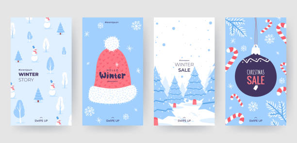 Colorful christmas banners with cute winter illustrations. Set of winter social media stories template. Background collection with place for text. Use for event invitation, promo, ad. Vector eps 10 vector art illustration