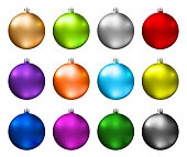Colorful christmas baubles. Photorealistic high quality vector christmas balls isolated on white background.