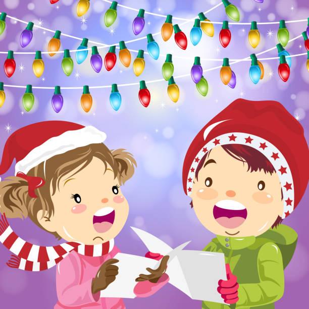 bildbanksillustrationer, clip art samt tecknat material och ikoner med färgglada jul carolers - sparkle teen girl