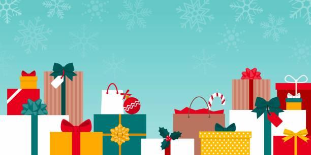 stockillustraties, clipart, cartoons en iconen met kleurrijke giften van kerstmis onder de sneeuw - christmas presents