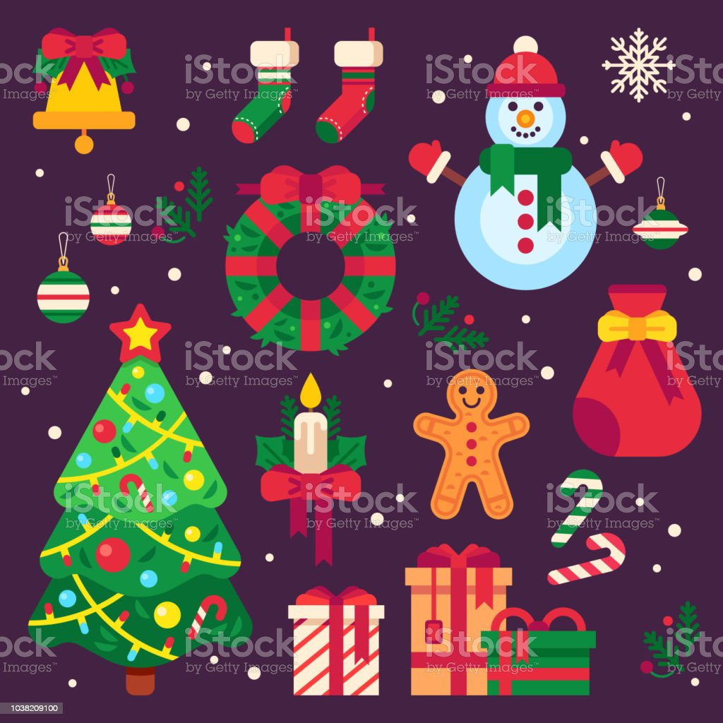 Colorful Christmas Tree Vector.Colorful Christmas Items Xmas Stocking Garland Lights For Fir Tree And Santa Gifts Winter Holidays Wreath Decor Elements Vector Set Stock Illustration