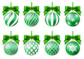 Green christmas ornament set