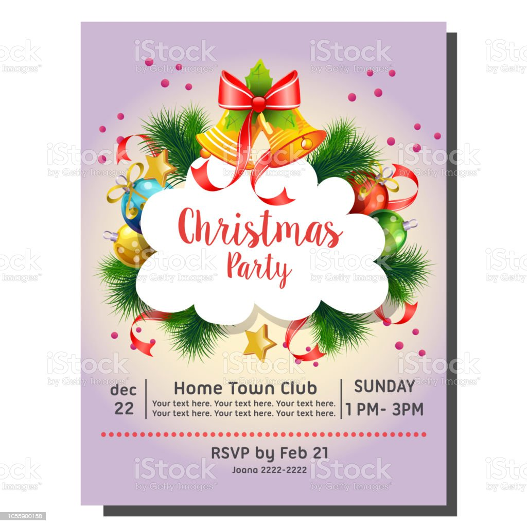 Colorful Christmas Party Invitation Card With Bell And Decoration Stock  Illustration - Download Image Now - iStock