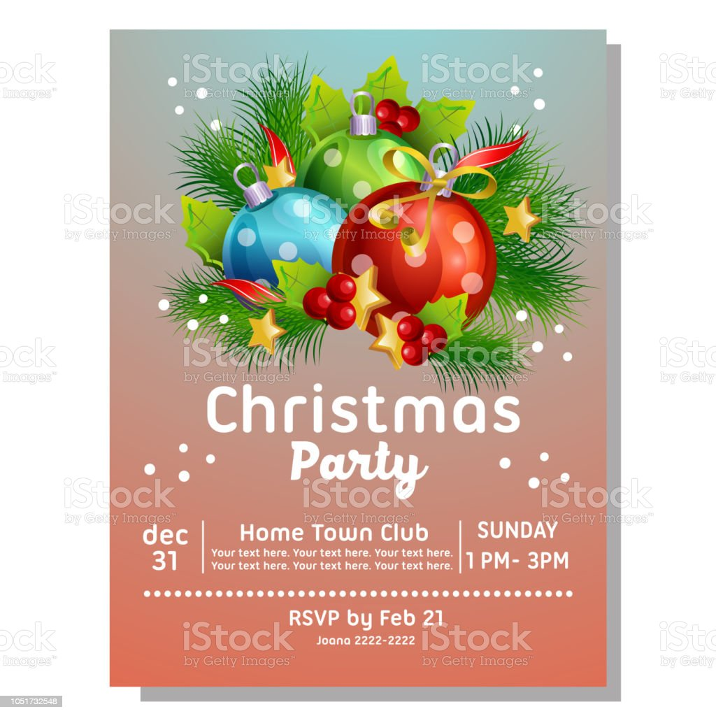 Colorful Christmas Party Invitation Card With Light Ball