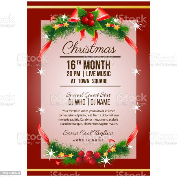 christmas party poster template with ribbon decoration