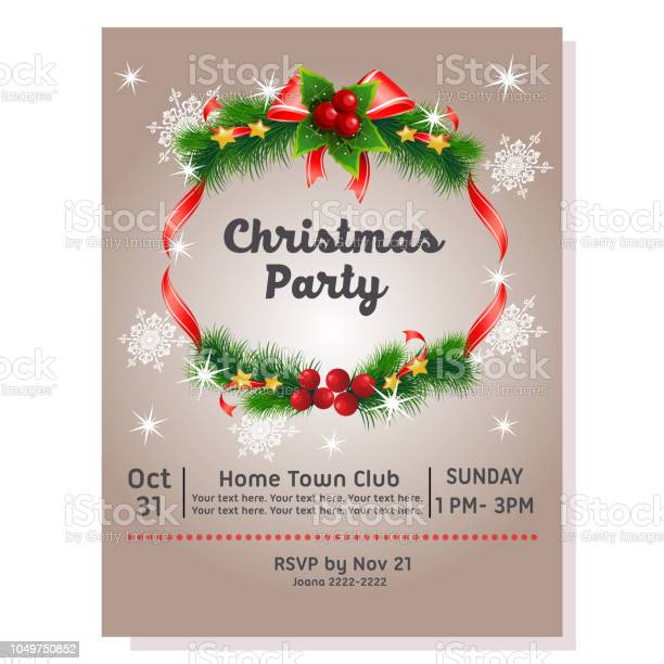 christmas party poster with decoration ribbon