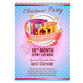 colorful christmas party vintage poster gift box