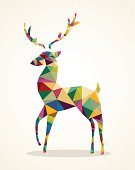Colorful Christmas reindeer with abstract shapes