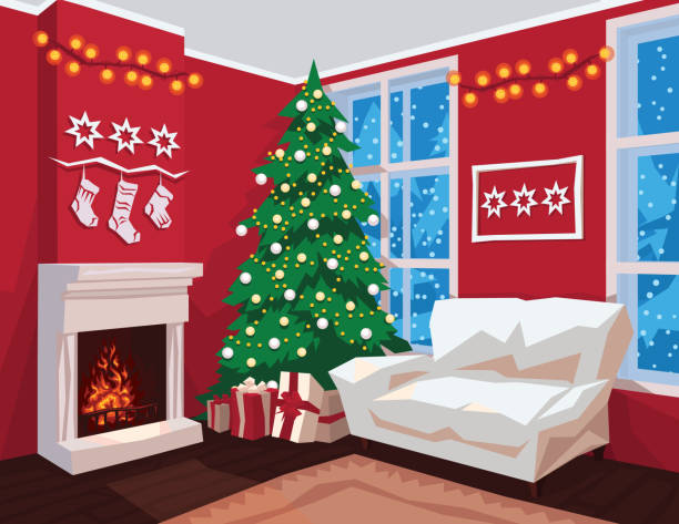 Christmas Fireplace Scene Clipart.Best Christmas Fireplace Scene Cartoons Illustrations