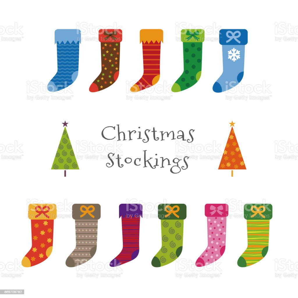 Colorful Christmas Stockings And Trees Christmas Elements Stock ...