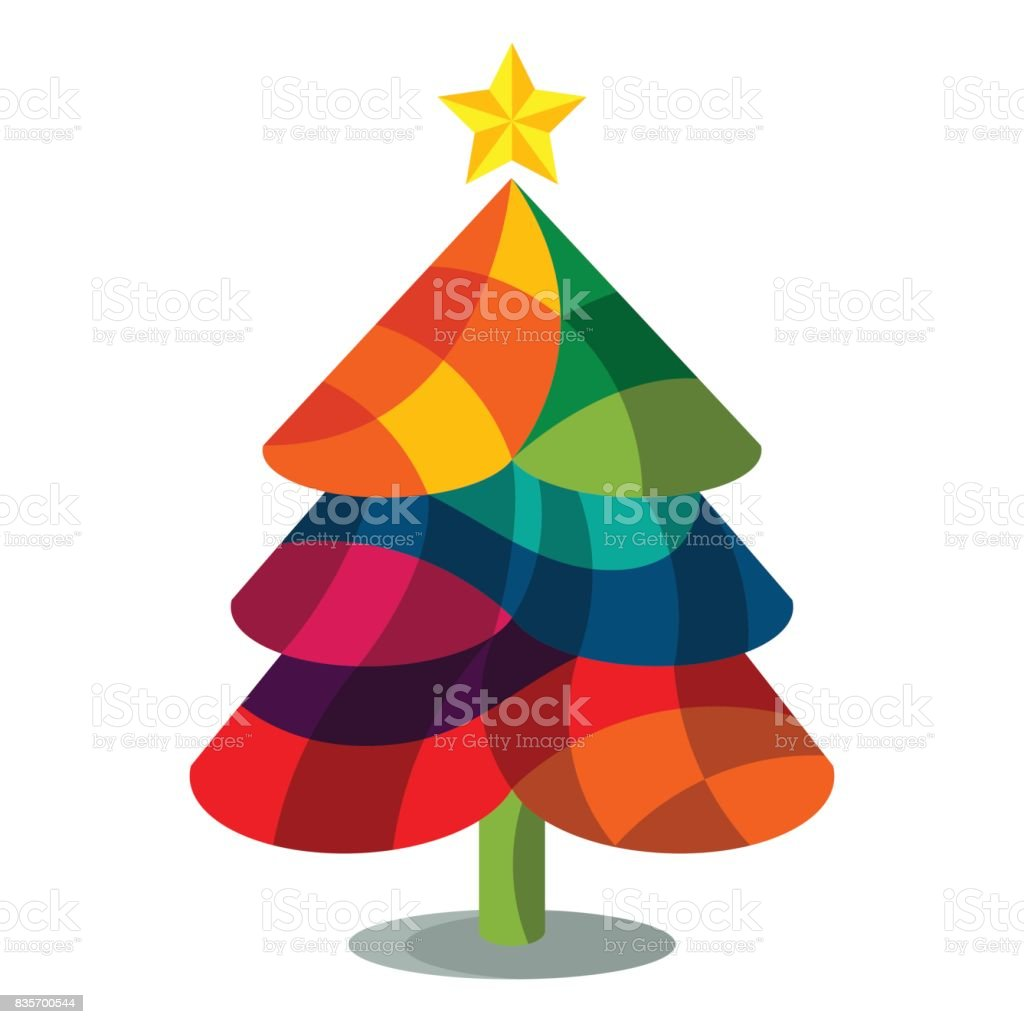 Colorful Christmas Tree Vector.Colorful Christmas Trees Stock Illustration Download Image Now