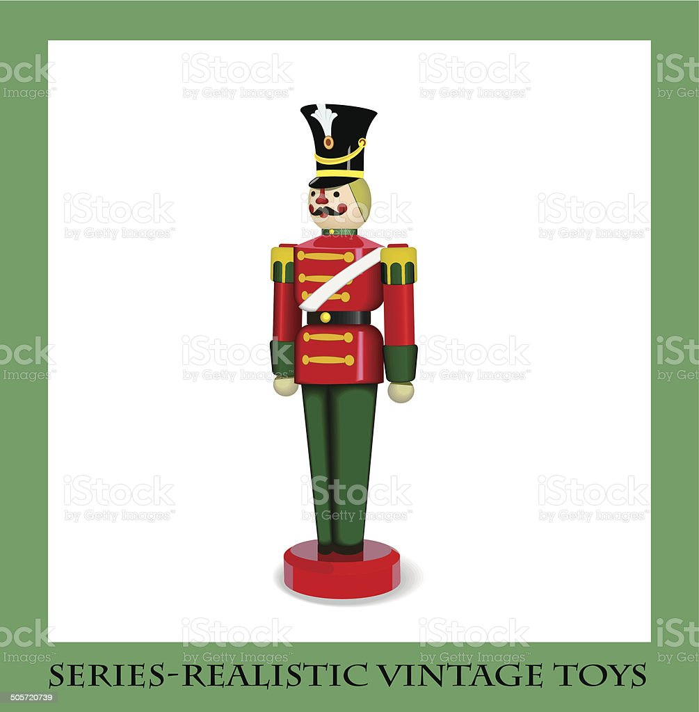 Colorful Christmas Wooden Soldier  , Series-Realistic vintage toys vector art illustration