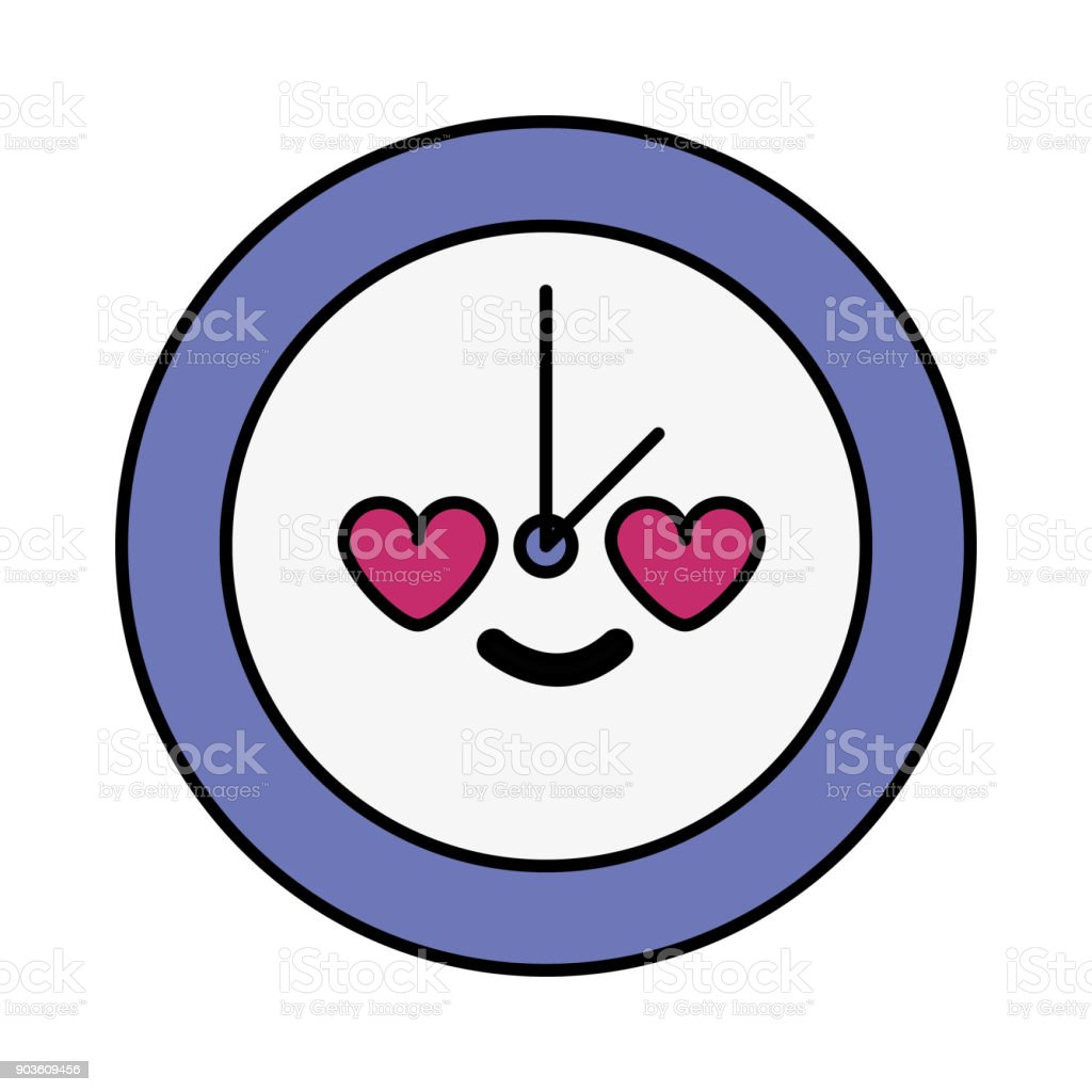 Horloge De Cercle Coloré Dans Amour Kawaii Dessin Animé