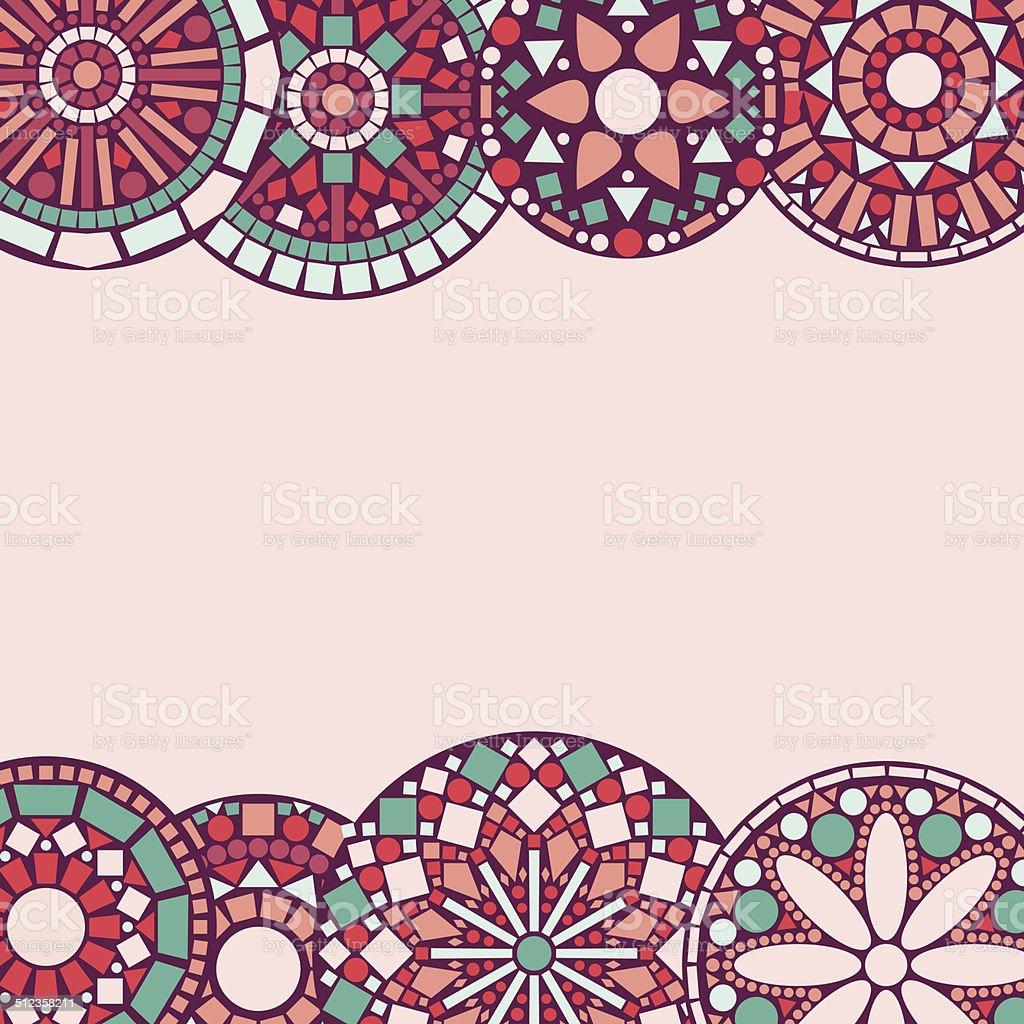 Ilustración de Círculo Colorido Floral Mandalas Marco Horizontal ...