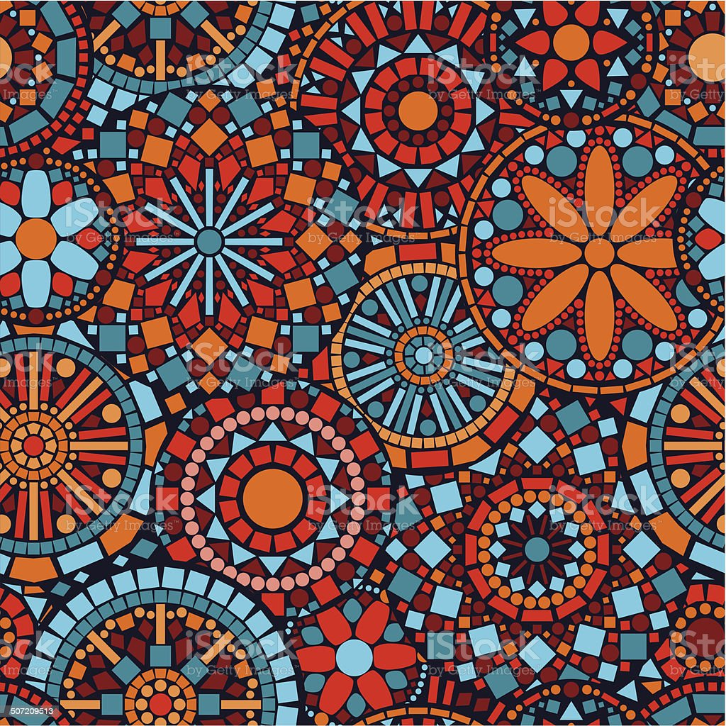 Colorful circle flower mandalas seamless pattern in blue red orange royalty-free colorful circle flower mandalas seamless pattern in blue red orange stock vector art & more images of abstract