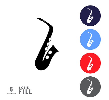 Colorful circle icon set of a saxophone music instrument on white background