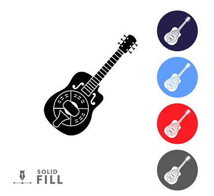 Colorful circle icon set of a steel guitar music instrument on white background