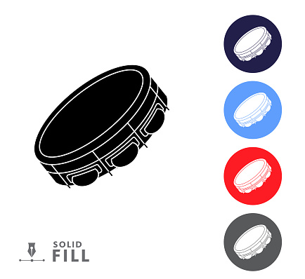 Colorful circle icon set of a tambourine music instrument on white background