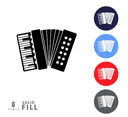 Colorful circle icon set of an accordion music instrument on white background
