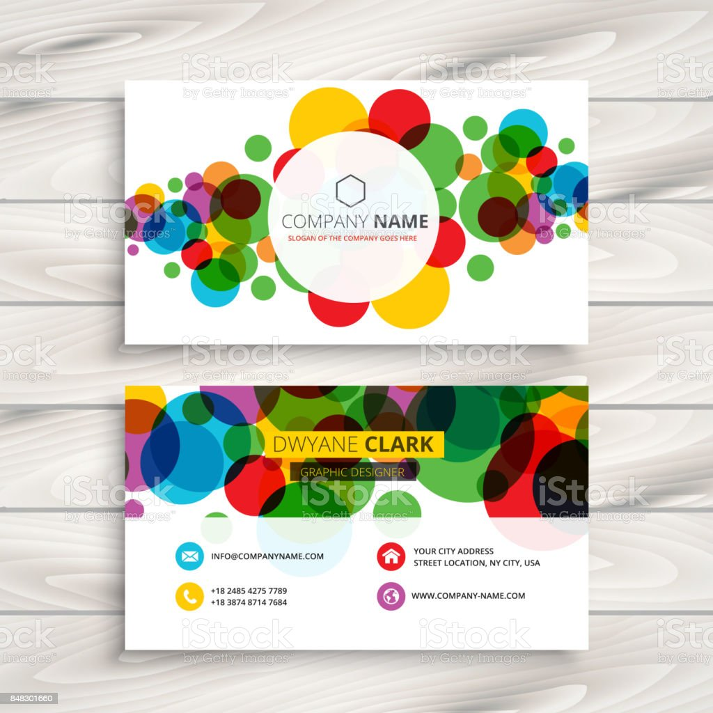 colorful circles business card template vector design illustration royalty free colorful circles business card template - Circle Business Card Template