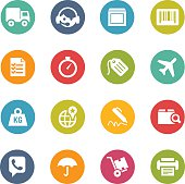 Colorful circular icons related to shipping