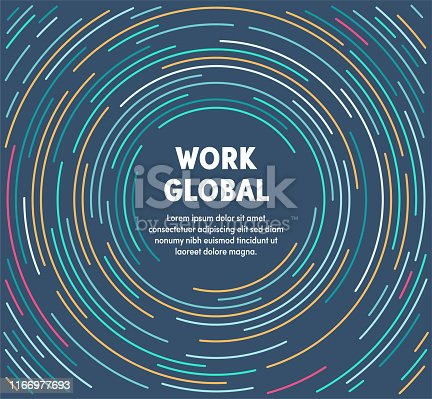 Work global template design with abstract background. Modern and geometric vector illustration to use as promotion web banners for social media.