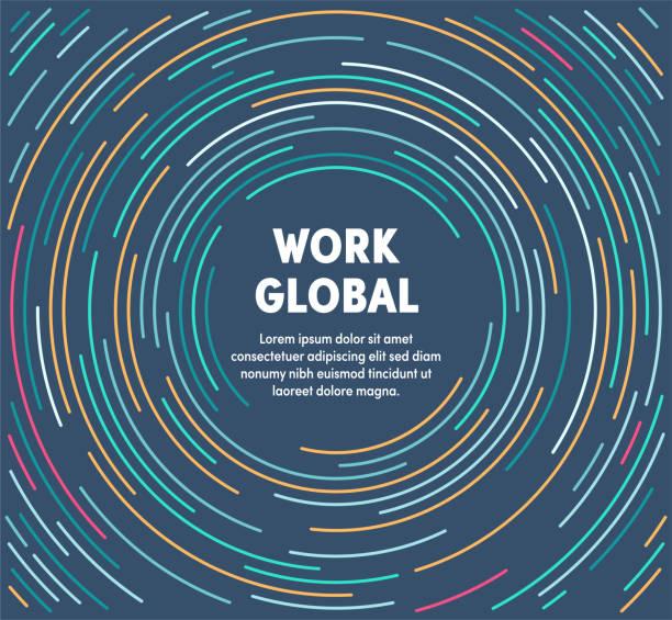 kolorowa okrągła ilustracja ruchu do pracy globalnej - globalny stock illustrations