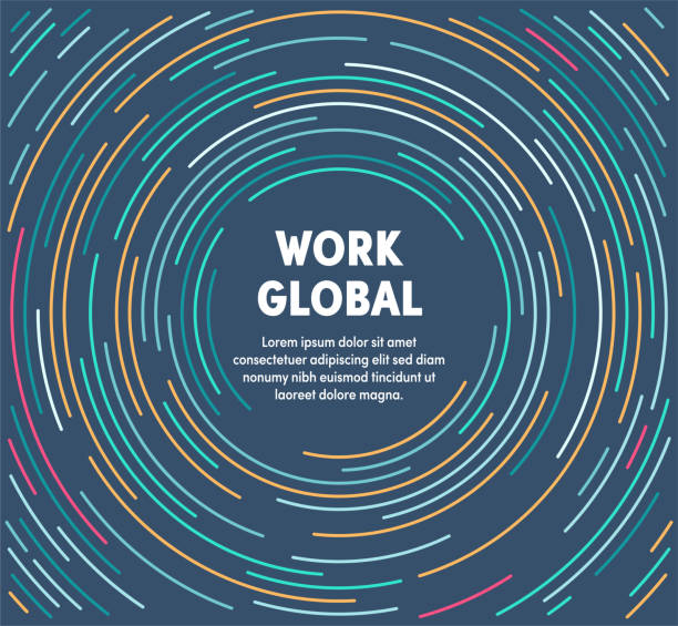 Colorful Circular Motion Illustration For Work Global Work global template design with abstract background. Modern and geometric vector illustration to use as promotion web banners for social media. global stock illustrations