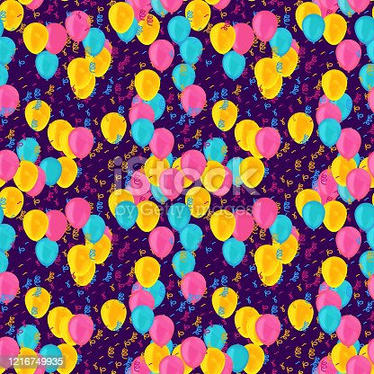 Colorful circus balloons and tissel seamless pattern. Party confetti and serpentine streamers texture. Birthday decoration vector background. Holiday, event decor. Wallpaper, wrapping paper design
