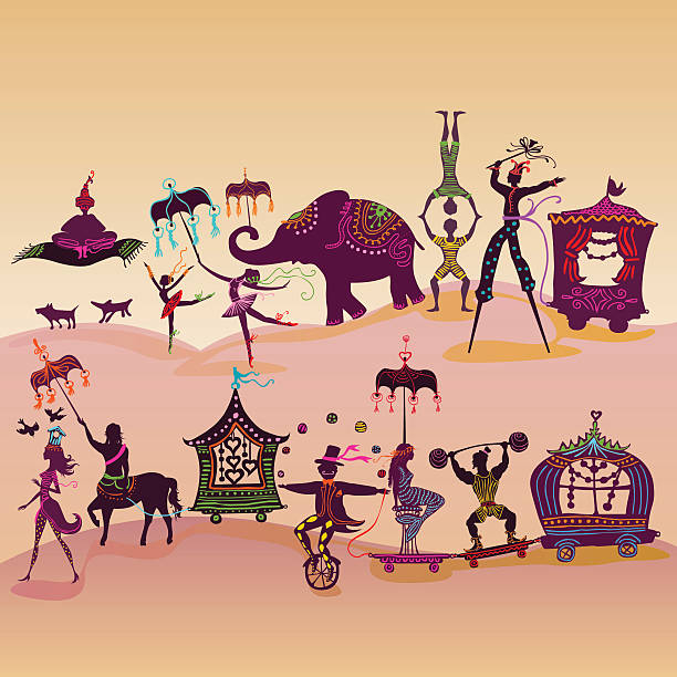 colorful circus caravan on the road vector art illustration