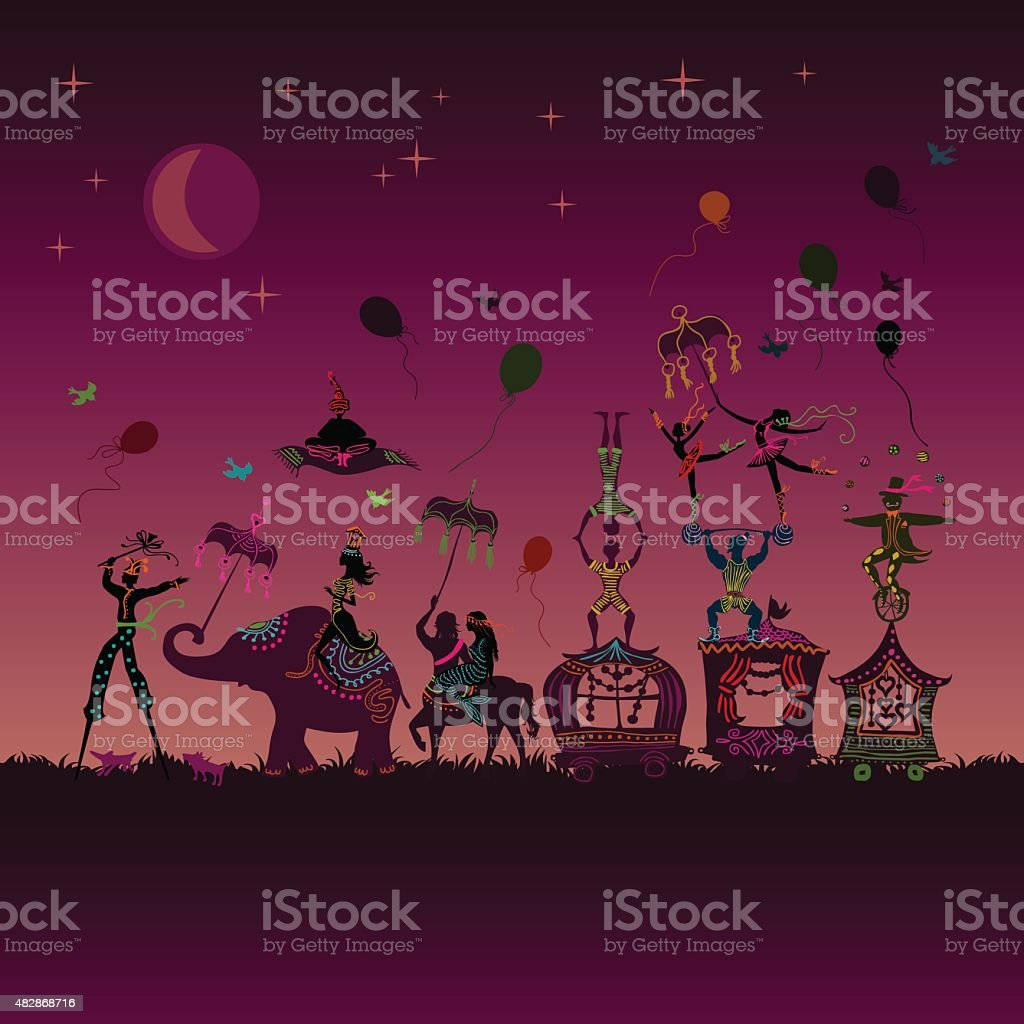 colorful circus carnival traveling in one row at night vector art illustration