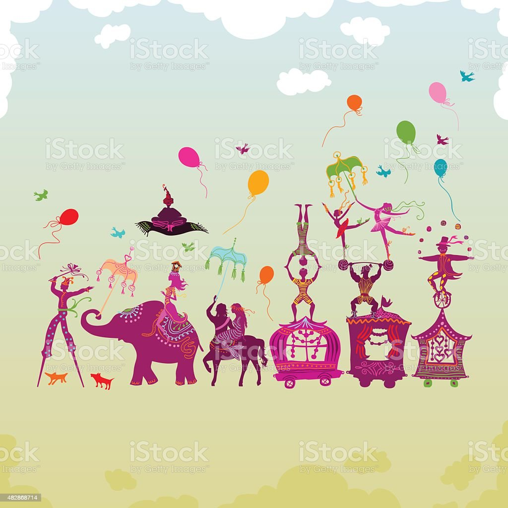 colorful circus carnival traveling in one row during daylight vector art illustration