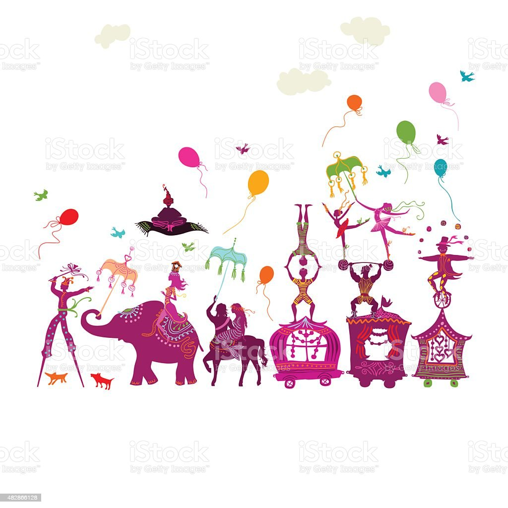 colorful circus carnival traveling in one row on white background vector art illustration